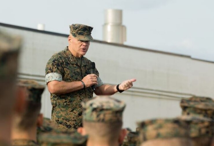 U.S. Marine Corps Gen. Robert B. Neller, commandant of the Marine Corps, speaks to Marines on Camp Lejeune, N.C