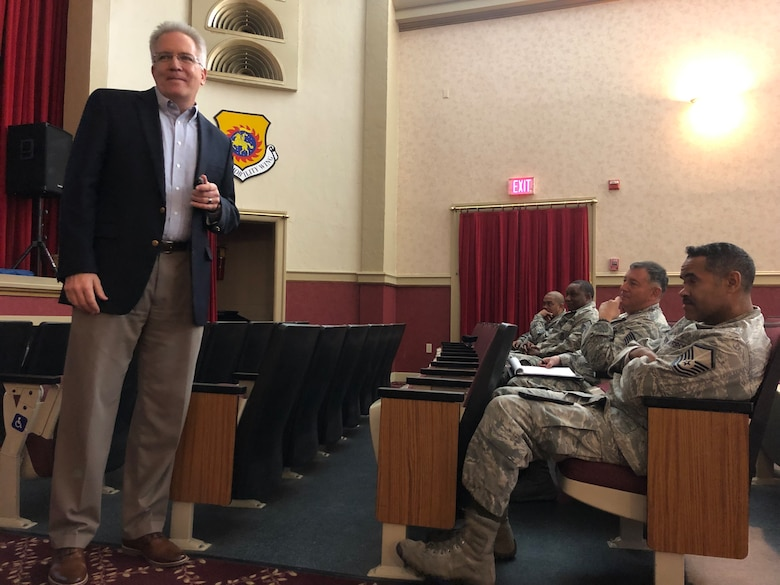 On Jan. 26, 2019 members from March Air Reserve Base, Calif. received a presentation hosted by the Profession of Arms Center of Excellence on Enhancing Human Capital, instructed by Lt. Col. (Ret.) Kevin Adelsen.