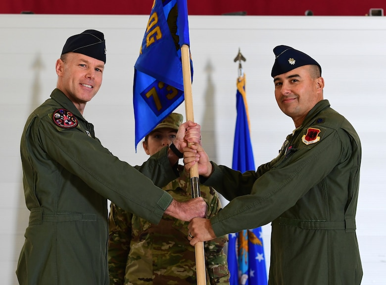 "Lt. Col. Hector, 732nd Operations Support Squadron commander, assumes command of the 732nd OSS from Col. Christopher, 732nd Operations Group commander at Creech Air Force Base, Nevada, Jan. 23, 2019. The new unit, dubbed the ""Archers,"" will provide the support required for the MQ-9 Reaper attack squadrons within the 732nd OG to seamlessly execute their persistent attack and reconnaissance missions. (U.S. Air Force photo by Senior Airman Christian Clausen)"