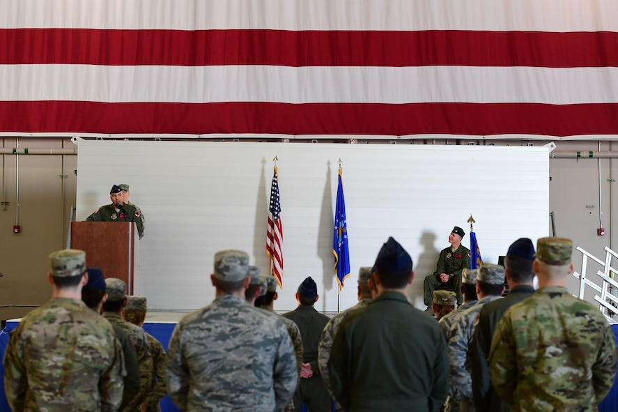 Lt. Col. Hector, 732nd Operations Support Squadron commander, addresses his unit during the 732nd OSS assumption of command at Creech Air Force Base, Nevada, Jan. 23, 2019. The OSS will document the group's best practices, whether they be combat, intelligence, weather, or infrastructure related; and communicate them appropriately throughout the Remotely Piloted Aircraft enterprise to further enable combat effectiveness and resiliency. (U.S. Air Force photo by Senior Airman Christian Clausen)