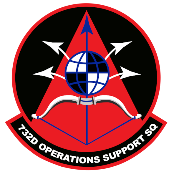 The 732nd Operations Support Squadron officially activated at Creech Air Force Base, Nevada, Jan. 23, 2019. The 732nd OSS Archers patch showcases a blue arrow leading the way through a red area representing the spreading of light. The Archers, like archers in many historic conflicts, will stay in the background drawing their bows to strike beyond the current battle to affect the future of it while setting their battlefield brothers and sisters up for success. (U.S. Air Force graphic by Senior Airman Christian Clausen)