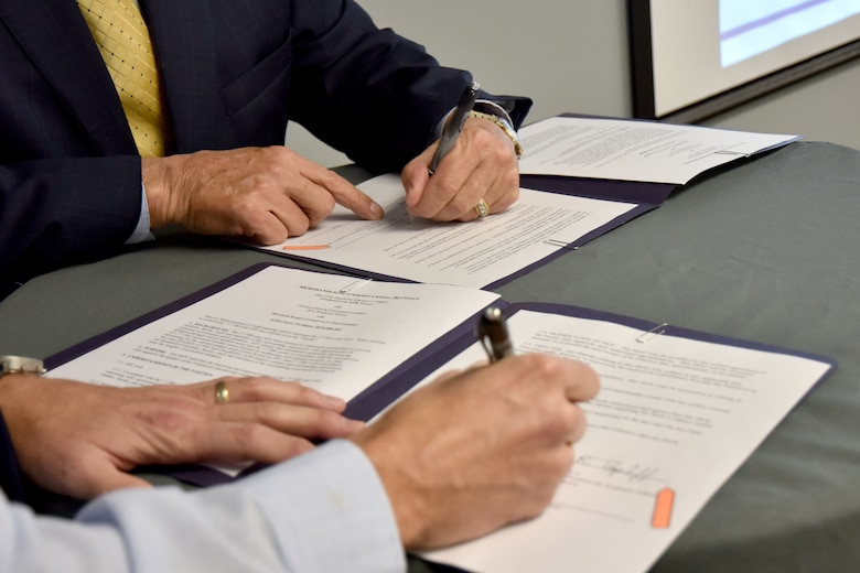 Two Memorandums of Understanding were signed during the Quarterly Community Partnership Update meeting at the Business Resource Center on Jan. 25, 2019. Goodfellow now has 28 active agreements with the signing of these MOUs, which is the most amount of agreements with community partners in the entire Department of Defense. (U.S. Air Force photo by 2nd Lt. Matthew Stott/Released)