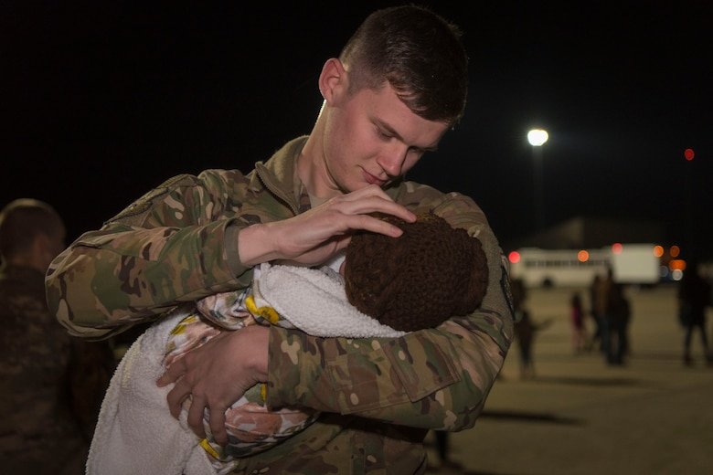Airmen return to Moody Air Force Base, Ga., from a deployment in southwest Asia, Jan. 24, 2019. Reintegration events like these are especially important to Moody's Airmen and their families as Moody is the most deployed base in Air Combat Command. (U.S. Air Force photo by Airman Taryn Butler)