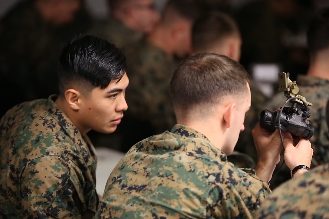 Marines took delivery of the Squad Binocular Night Vision Goggles during new equipment training in December 2018 at Camp Lejeune, North Carolina. The move to the SNBVG is expected to enhance the infantry's lethality and situational awareness in reduced visibility.