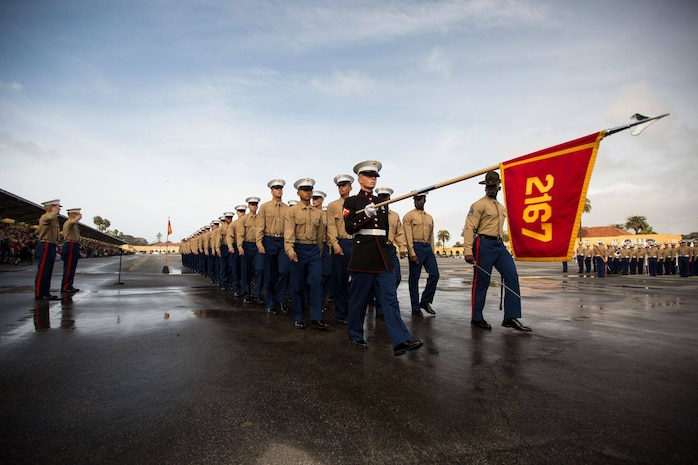 Marines with Hotel Company, 2nd Recruit Training Battalion, march as a company for the last time during their graduation at Marine Corps Recruit Depot San Diego, Jan 18.
