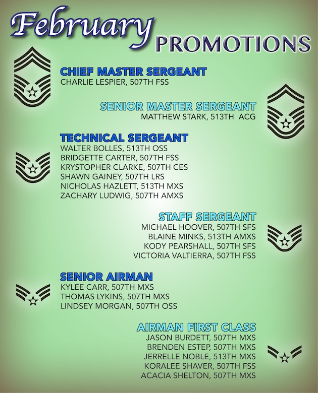 The 507th Air Refueling Wing enlisted promotion list for February 2019. (U.S. Air Force image by Tech. Sgt. Lauren Gleason)