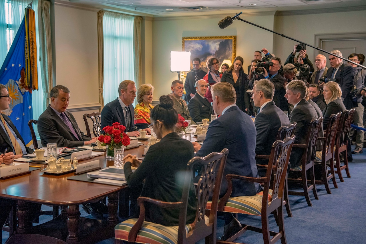 Defense Department and NATO officials sit at a meeting table.