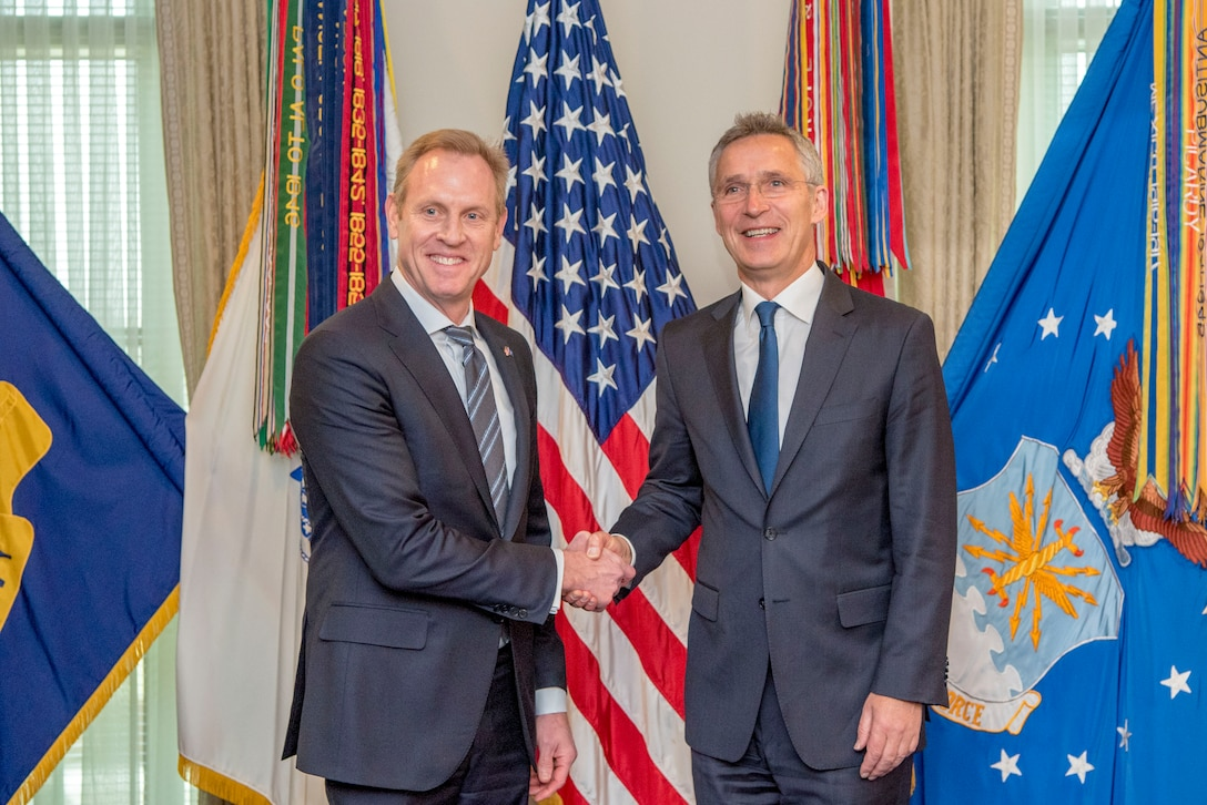 Acting defense secretary and NATO secretary general shake hands in front of a U.S. flag.