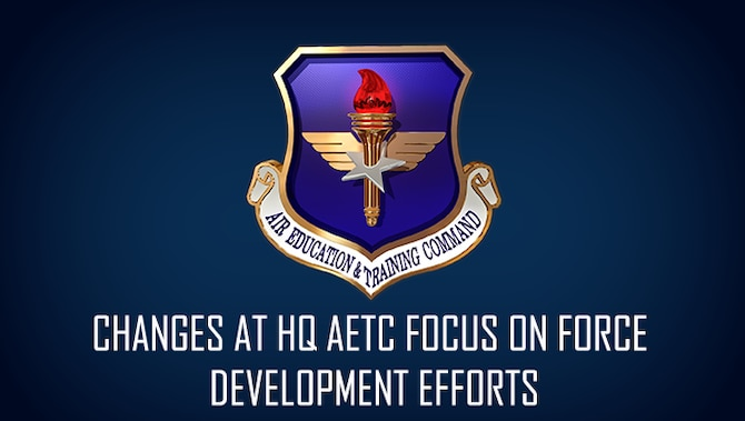 A graphic to support the HQ AETC reorganization article with no image.