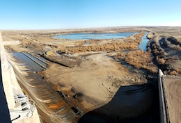 JOHN MARTIN RESERVOIR, Colo. – View of the dam's stilling basin after it was dewatered.