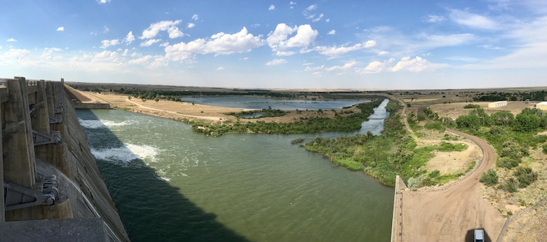 JOHN MARTIN RESERVOIR, Colo. – View of the dam's stilling basin as seen on June 14, 2018, before it was dewatered.