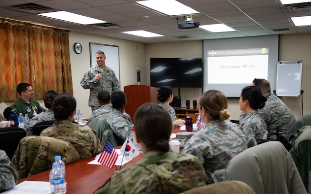 U.S. Air Force Chief Master Sgt. Roy Hensley, superintendent with the 51st Logistics Readiness Squadron, teaches the first Flight Commander's Course at Osan Air Base, Republic of Korea, Jan. 28, 2019.