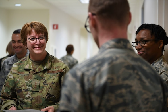 U.S. Air Force Lt. Gen. Dorothy A. Hogg, Surgeon General, and Chief Master Sgt. G. Steve Cum, Chief, Medical Enlisted Force and Enlisted Corps Chief, tour medical facilities at Joint Base Langley-Eustis, Va., Jan. 9, 2019. They spoke about readiness revitalization at various stops, which included Langley's intensive care unit, flight medicine unit, logistics warehouse, and dental and family medicine clinics. (U.S. Air Force photo by Airman 1st Class Monica Roybal)