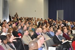 Defense Logistics Agency Energy employees packed the Fort Belvoir McNamara Headquarters Complex auditorium for an all-hands town hall Jan. 22. Picture by Connie Braesch