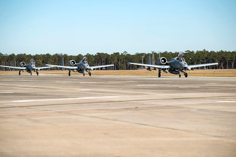 Airmen and aircraft from the 75th Fighter Squadron at Moody Air Force Base, Ga., return from supporting Operation Freedom's Sentinel, Jan. 25, 2019. The A-10C Thunderbolt II, which has an increased loiter time and weapons capabilities, deployed to southwest Asia in support of ground forces. (U.S. Air Force photo By Airman First Class Eugene Oliver)