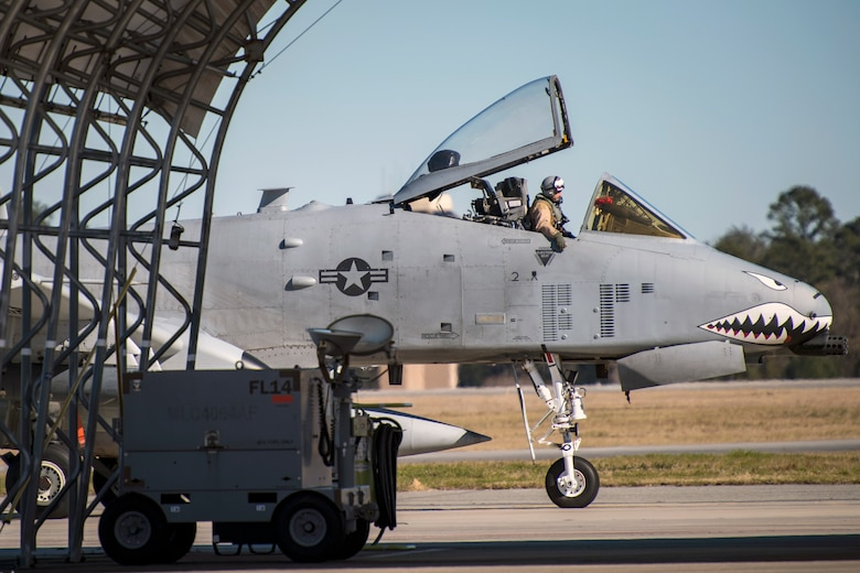 An A-10C Thunderbolt II from the 75th Fighter Squadron at Moody Air Force Base, Ga., returns from supporting Operation Freedom's Sentinel, Jan. 25, 2019. The A-10C Thunderbolt II, which has an increased loiter time and weapons capabilities, deployed to southwest Asia in support of ground forces. (U.S. Air Force photo By Airman First Class Eugene Oliver)