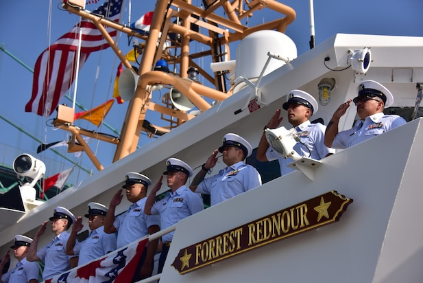 The crew of Coast Guard Cutter Forrest Rednour mans the rail during the cutter's commissioning ceremony, Nov. 8, 2018, in San Pedro, California.