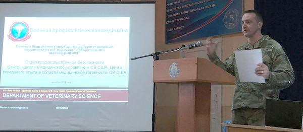 Lt. Col. Stephen E. Cassle, Food Protection Branch Department of Veterinary Science chief, represented the Army Medical Center & School, Health Readiness Center of Excellence at the Preventive Medicine Subject Matter Expert Exchange at the Central Military Medical Hospital at Tashkent, Uzbekistan.