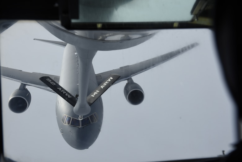 The crew of a new KC-46 Pegasus aerial-refueling aircraft practice making refueling hose connections with a KC-135 Stratotanker over Washington, January 22, 2019. Team Fairchild's 384th Air Refueling Squadron was the first to train with the newly-produced aircraft to train pilots and boom operators to work with the new refueling aircraft. (U.S. Air Force photo/Airman 1st Class Lawrence Sena)