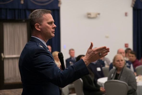 Col. Joel Safranek, 436th Airlift Wing commander, speaks to an audience of civil and military leaders during the Military Affaire event Jan. 23, 2019, at Dover Air Force Base, Delaware. The event is a social event, in which military and civil leaders come together to build partnerships for future initiatives. (U.S. Air Force photo by Airman 1st Class Jonathan W. Harding)