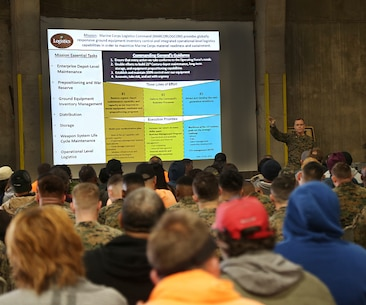 Brig. Gen. Joseph F. Shrader, commanding general, Marine Corps Logistics Command, discusses his priorities and key objectives for 2019 during a town hall meeting with Marine Force Storage Center Marines and civilian-Marines, Jan. 14.