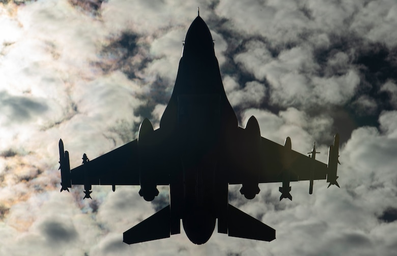 A U.S. Air Force F-16CM Fighting Falcon assigned to the 79th Fighter Squadron (FS) takes-off from the flightline during Exercise Red Flag 19-1 at Nellis Air Force Base, Nev., Jan. 28, 2019.