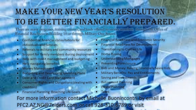 The New Year is here and it's time to make good on those New Year's resolutions. Airmen that haven't recently reviewed their financial planning or budget, this is the perfect time to take some simple steps to insure they are financially set for 2019. (U.S. Air National Guard Infographic by Staff Sgt. Dillion Davis)