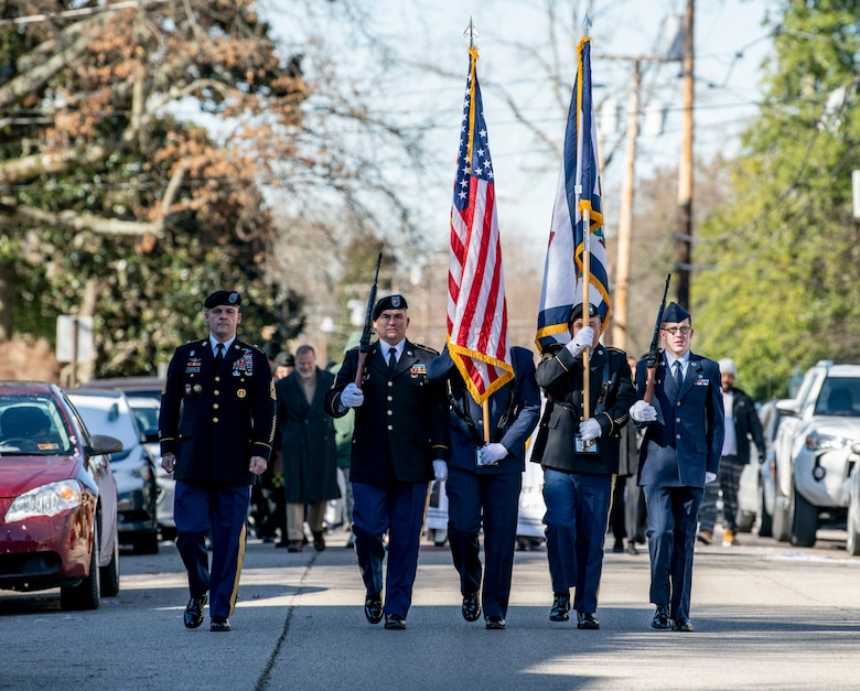 West Virginia National Guard Senior Enlisted Leader, Command Sgt. Maj. Phillip Cantrell, marches beside the joint color guard Jan. 21, 2019, during the Dr. Martin Luther King, Jr., memorial march in Charleston, W.Va. Cantrell will formally assume the responsibilities as State Senior Enlisted Leader on Feb. 2, 2019, during a change of responsibility ceremony at the West Virginia National Guard Joint Forces Headquarters in Charleston. (U.S. Army National Guard photo by Bo Wriston)