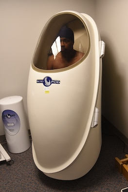 PETERSON AIR FORCE BASE, Colo. – Airman 1st Class Revell Hicks, 21st Security Forces installation patrolman, sits in a BOD POD at the Health and Wellness Center on Peterson Air Force Base, Colorado, Jan. 23, 2019, while his body densitometry is tested to determine his fat versus lean body composition. This process involves the measurement of the interior volume of the BOD POD before a patient is inside it and again after the patient is seated inside the chamber. The difference in volume is then subtracted to obtain the patient's body volume. (U.S. Air Force photo by Robb Lingley)