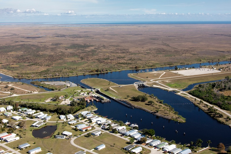 Aerial view of Moore Haven Lock and Dam on west side of Lake Okeechobee Florida