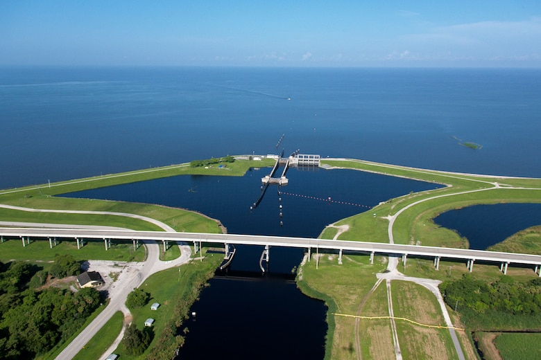 Aerial of Port Mayaca Lock and Dam on the east side of Lake Okeechobee Florida