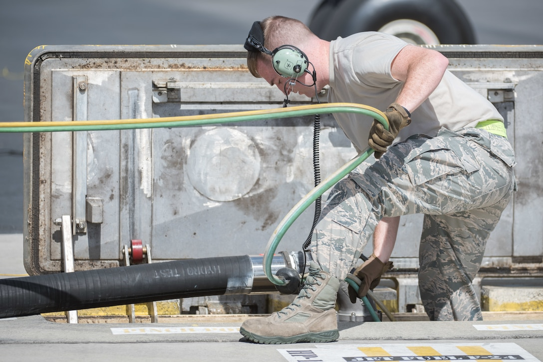 Staff Sgt. Shaun Tant, 509th Logistics Readiness Squadron fuel distribution operator deployed from Whiteman Air Force Base, Missouri, conducts a hot-pit refueling on a B-2 Spirit Bomber at Joint Base Pearl Harbor-Hickam, Hawaii Jan. 22, 2019.