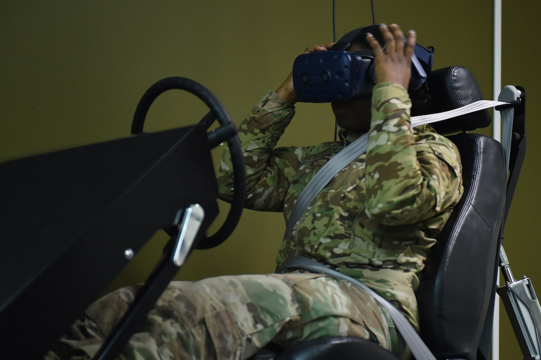 Senior Airman Ebony Robinson, 841st Missile Security Forces Squadron missile security operator, uses a vehicle simulator Jan. 28, 2019, 2019, at Malmstrom Air Force Base, Mont.