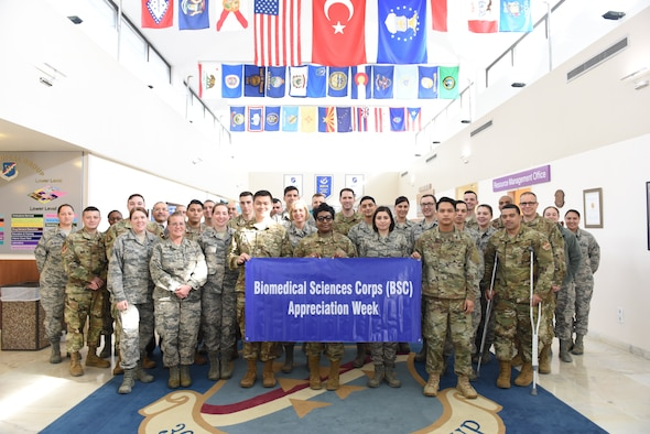 Members of the 39th Medical Group pose for a photo for Biomedical Sciences Corps Appreciation Week, Jan. 30, 2019 at Incirlik Air Base, Turkey.
