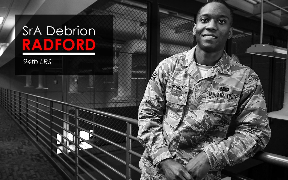 This week's Up Close features Senior Airman Debrion Radford, a 94th Logistics Readiness Squadron logistics planner. Up Close is a series spotlighting individuals around Dobbins Air Reserve Base. (U.S. Air Force graphic/Staff Sgt. Andrew Park)