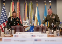 Chairman of the Joint Chiefs of Staff Marine Corps Gen. Joe Dunford hosts  Thai Chief of Defense Forces Gen. Ponpipaat Benyasri for an official visit in Washington, D.C., Jan. 29, 2019.