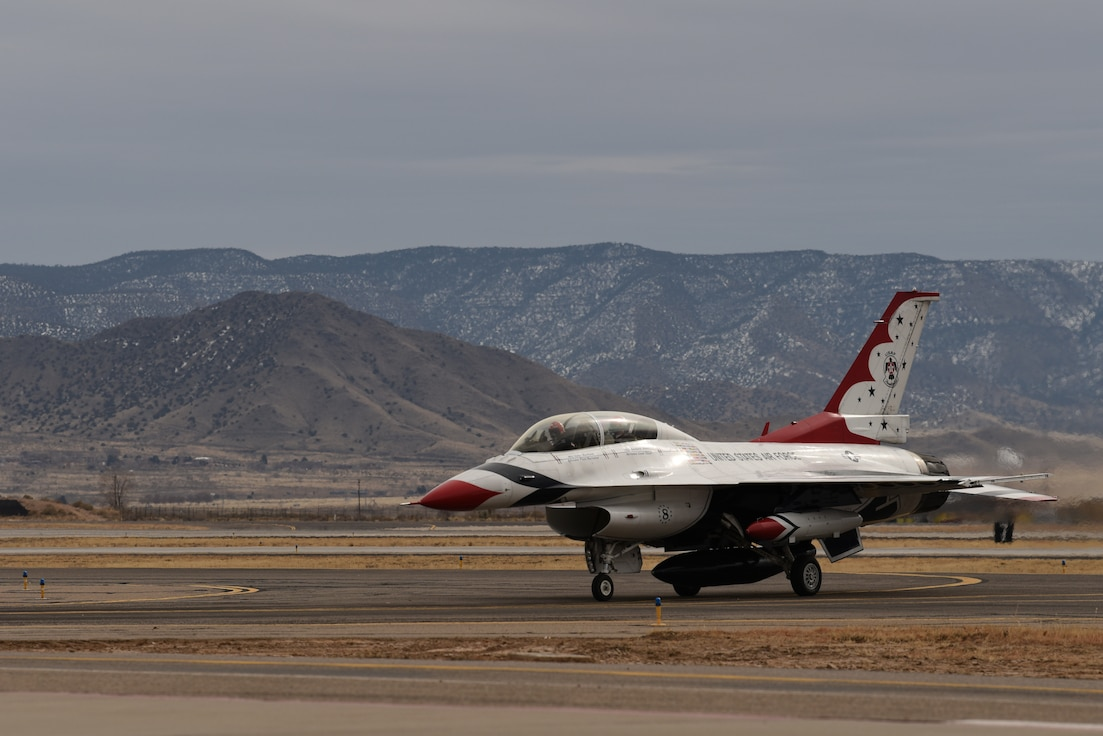 U.S. Air Force Thunderbird No. 8 taxis after landing at Kirtland Air Force Base, N.M., Jan. 29, 2019. The Thunderbirds began in 1953, and first flew the F-84G Thunderjet. (U.S. Air Force photo by Senior Airman Eli Chevalier)