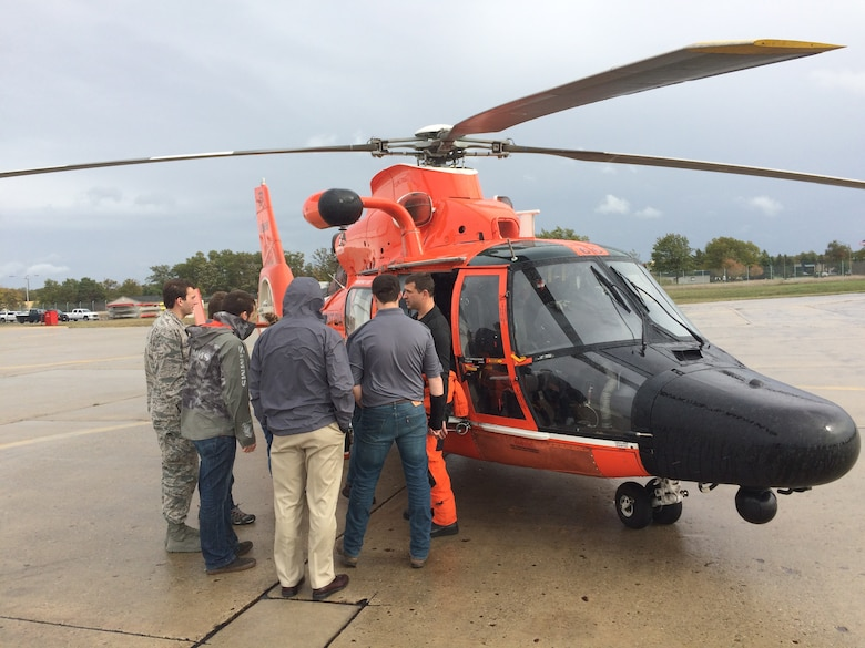 Students view maritime rescue helicopter