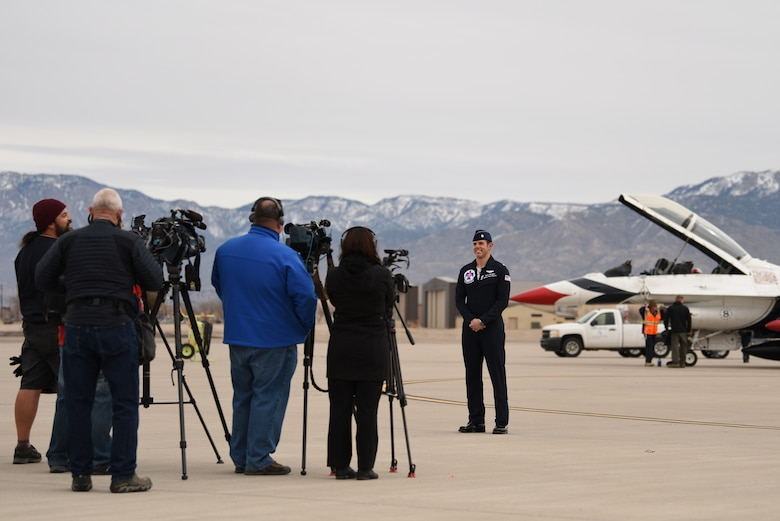 U.S. Air Force Maj. Jason Markzon, Thunderbird advance pilot and narrator, speaks to media at Kirtland Air Force Base, N.M., Jan. 29, 2019. The Thunderbirds are scheduled to perform at the Kirtland Air and Space Fiesta this summer. (U.S. Air Force photo by Senior Airman Eli Chevalier)