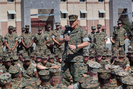 U.S. Marine Corps Gen. Robert B. Neller, commandant of the Marine Corps, speaks to the Marines of I Marine Expeditionary Force Support Battalion, I Marine Expeditionary Force at Marine Corps Base Camp Pendleton, California Sept. 13, 2018.