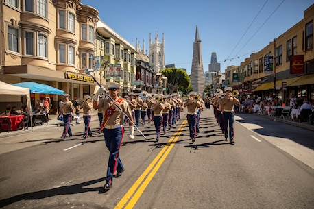 U.S. Marines with 1st Marine Division Band perform while marching in the Italian Heritage Parade during San Francisco Fleet Week 2018, Oct. 7.