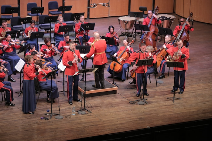 "On Jan. 27, 2019 the Marine Chamber Orchestra performed Ludwig van Beethoven's First Symphony, Wolfgang Amadeus Mozart's Sinfonia Concertante for oboe, clarinet, horn, and bassoon, and Felix Mendelssohn's mysterious and captivating Hebrides Overture, also known as ""Fingal's Cave."" The free concert took place at the Rachel M. Schlesinger Concert Hall and Arts Center at Northern Virginia Community College's Alexandria campus. (U.S. Marine Corps photo by Master Sgt. Kristin duBois/released)"