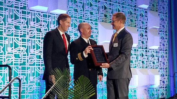 Naval Surface Warfare Center, Crane Division (NSWC Crane) was recognized before an international audience for its contributions to the electronics industry with the IPC - Association Connecting Electronics Industries Peter Sarmanian Corporate Recognition Award. The award was presented to NSWC Crane representatives at the annual IPC APEX EXPO 2019 in San Diego, California on January 29.