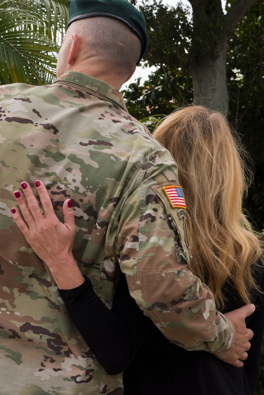 The spouse of Master Sgt. John Chapman, a Congressional Medal of Honor recipient, attends a ceremony for U.S. Air Force Master Sgt. John Chapman at MacDill Air Force Base, Fla., Jan. 30, 2019.