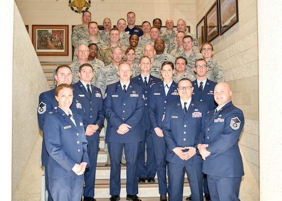 Outstanding Airmen of the Year from the 136th Airlift Wing and 254th Combat Communications Group out of Dallas, Texas,  pose for a photo with leadership and supporting members of their units after the Outstanding Airman of the Year ceremony January 13, 2019, held at Camp Mabry in Austin, Texas. The Airman of the Year award recognizes outstanding Guardsmen for superior leadership, job performance, community involvement, and personal achievements. (U.S. Air National Guard photo by Tech. Sgt. Katy Whitt)