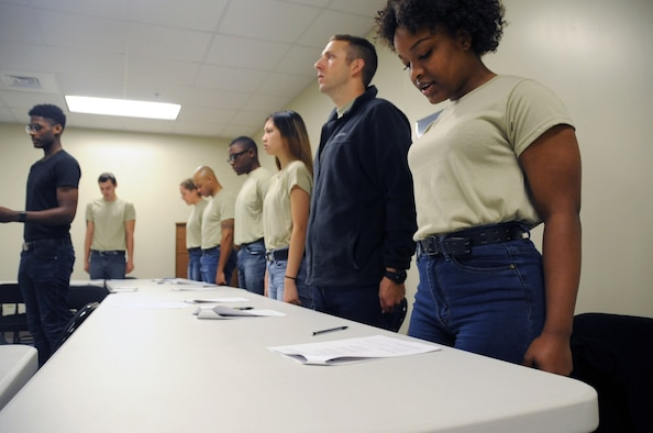 U.S. Air Force Reserve trainees in the Development and Training Flight recite the Airmen's Creed during the 403rd Wing Unit Training Assembly weekend Jan. 11, 2019. The Reserve D&TF helps prepare new recruits for the physical and mental challenges of Basic Military Training (U.S. Air Force photo by Tech. Sgt. Sarah Loicano)