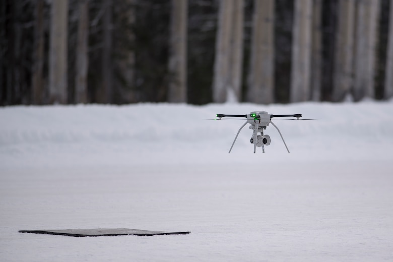 U.S. Air Force civil engineers fly a Small Unmanned Aircraft System during a newly adopted Rapid Airfield Damage Assessment System training course at Joint Base Elmendorf-Richardson, Alaska, Jan. 23, 2019. Throughout the first week of training, Airmen focused on learning to fly the SUAS. During the second week they learned to fly the RADAS mission while using the SUAS systems.