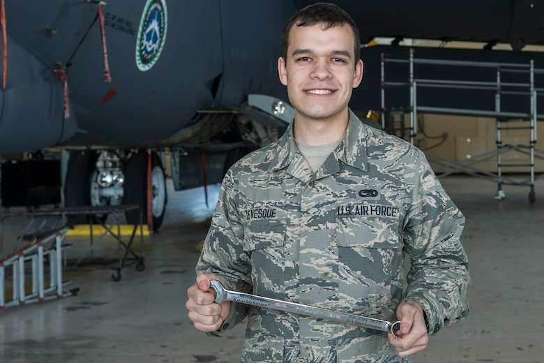 "U.S. Air Force Senior Airman Tyler Levesque received the ""Knuckle Buster"" award on Jan. 25, 2019, Barksdale Air Force Base, Louisiana. Levesque is assigned to the 2nd Maintenance Squadron and received the award for discovering that two control cables (the Lateral Control cable and the Drag Chute cable) on a B-52H Stratofortress were improperly routed. His perserverance in ensuring the cables were correctly configured displayed his professionalism and dedication.  Levesque works with the 307th MXS as part of the Total Force Enterprise.  (U.S. Air Force photo by Greg Steele)"