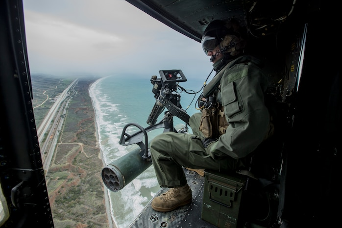 """U.S. Marines with 1st Marine Division assist in the filming of television show """"SEAL Team"""" on Marine Corps Base Camp Pendleton, Calif., Jan. 14, 2019."""