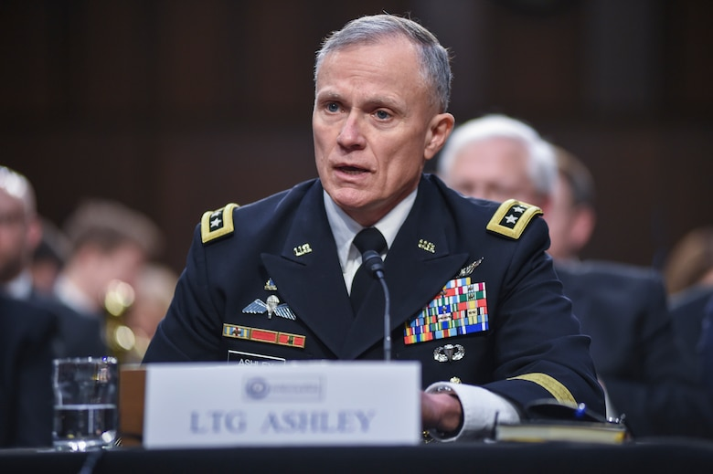 Defense Intelligence Agency Director Lt. Gen. Robert P. Ashley, Jr. responds to a question during an open hearing on worldwide threats facing the nation to the Senate Select Committee on Intelligence, Jan. 29, on Capitol Hill.
